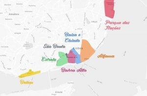 Mapa de las principales regiones de Lisboa