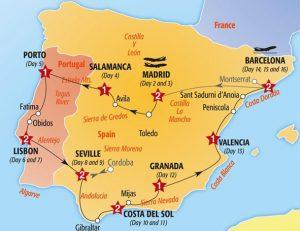 Itinerario de viaje por Portugal y España en automóvil